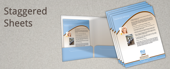 Staggered sheets for presentation folders